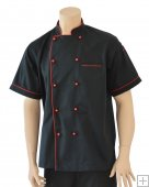 Red Piping Black Short Sleeve Jacket