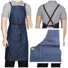 Blue Cross Over Denim Bib Apron with pocket