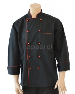 Red Piping Black Long Sleeve Jacket