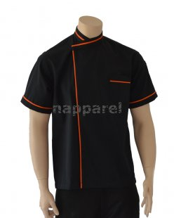 Orange Piping Black Short Sleeve Jacket